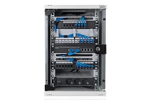 DIGITUS Professional 10″ Wandgehäuse, Netzwerk-/Serverschrank – 9HE – stabiles Gehäuse – 10 Zoll (254 mm) – Grau - 2